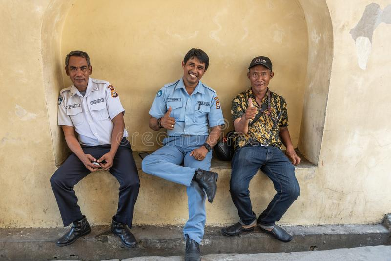 Security team at Fort Rotterdam  in Makassar, South Sulawesi, Indonesia stock images