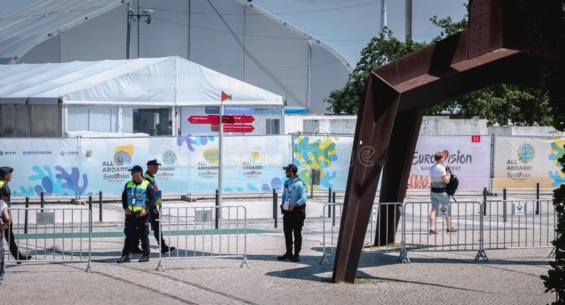 Security team monitoring the entrances to 2018 Eurovision in Lisbon, Portugal royalty free stock images