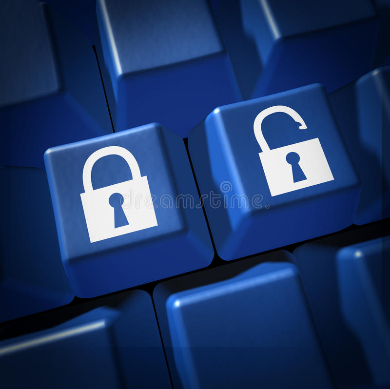 Security technology lock un locked firewall comput. Security and technology keyboard computer key representing lock and un locked network stock photo