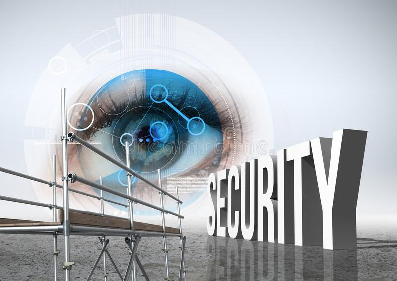 Security Text with 3D Scaffolding and eye technology interface. Digital composite of Security Text with 3D Scaffolding and eye technology interface stock illustration