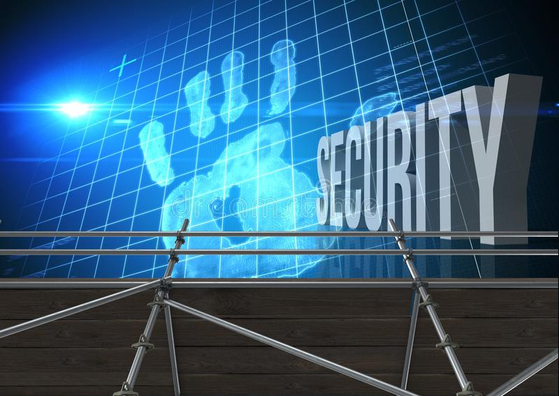 Security Text with 3D Scaffolding and hand grid interface. Digital composite of Security Text with 3D Scaffolding and hand grid interface vector illustration