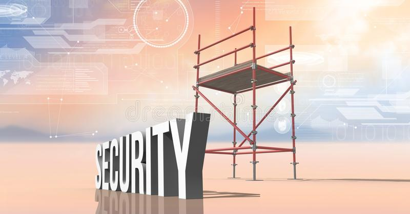 Security Text with 3D Scaffolding and technology interface landscape. Digital composite of Security Text with 3D Scaffolding and technology interface landscape stock illustration