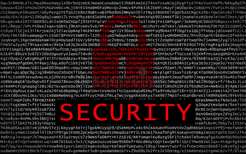 Security text with red lock over encrypted text stock photo