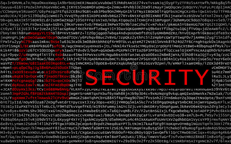 Security text with red lock over encrypted text royalty free stock image