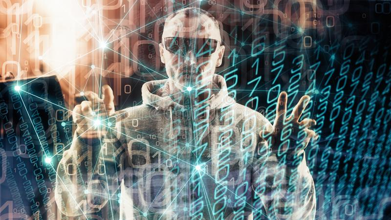 Security threats in cyber security algorithm idea, virtual world spy man espionage. Technology spy man in virtual cyber world, random numbers and lines connected royalty free stock photography