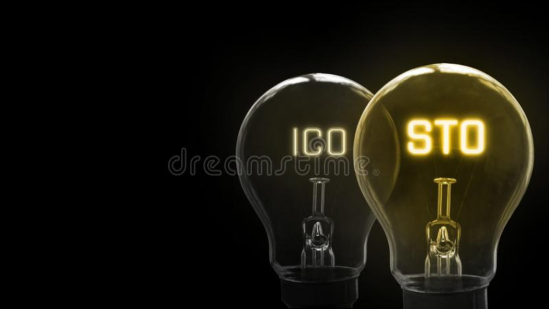 Security Token Offering STO is replacing Initial Coin Offering ICO as a new proposing technology. For crypto currency and stock market. Glowing text within stock image