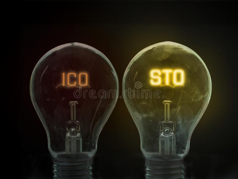 Security Token Offering STO is replacing Initial Coin Offering ICO as a new proposing technology. For crypto currency and stock market. Glowing text within stock photo