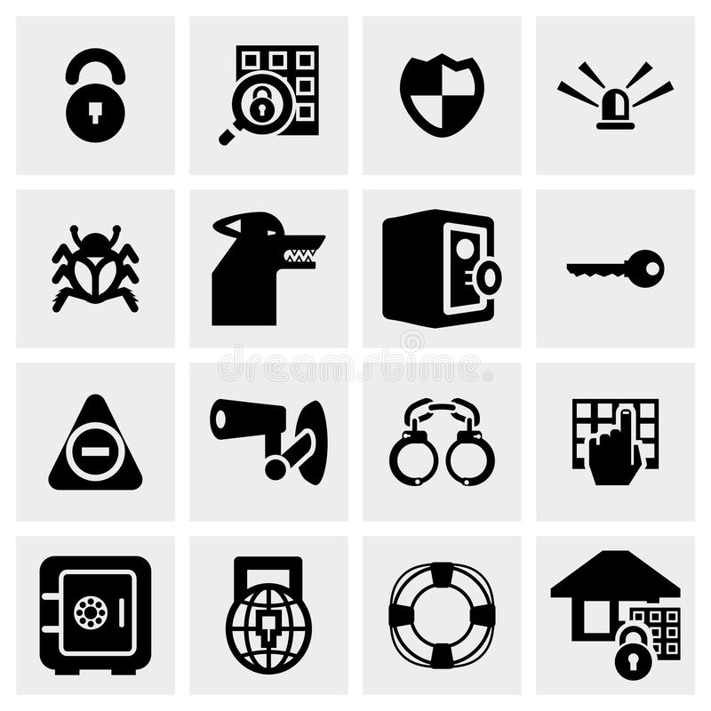 Download Security Vector Icon Set On Gray Stock Vector - Image: 36696882