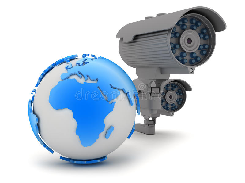 Security - video surveillance camera. On white background royalty free illustration