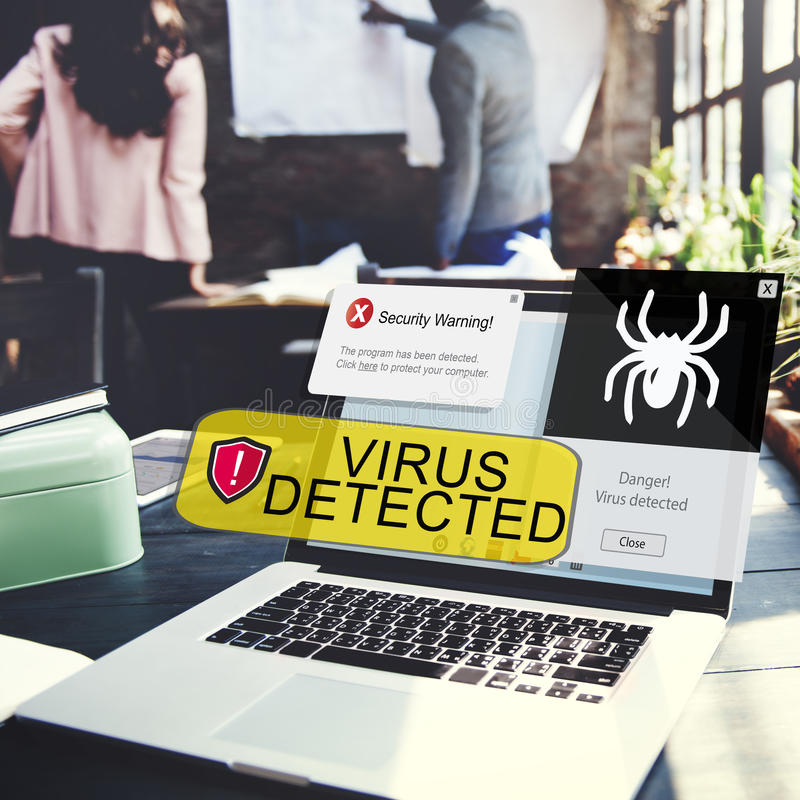 Security Warning Virus Detected Alert Concept royalty free stock photo