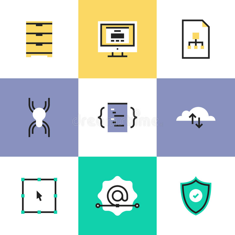 Security and web development pictogram icons set. Website development services, cloud computing connection, network security, user interface coding and royalty free illustration