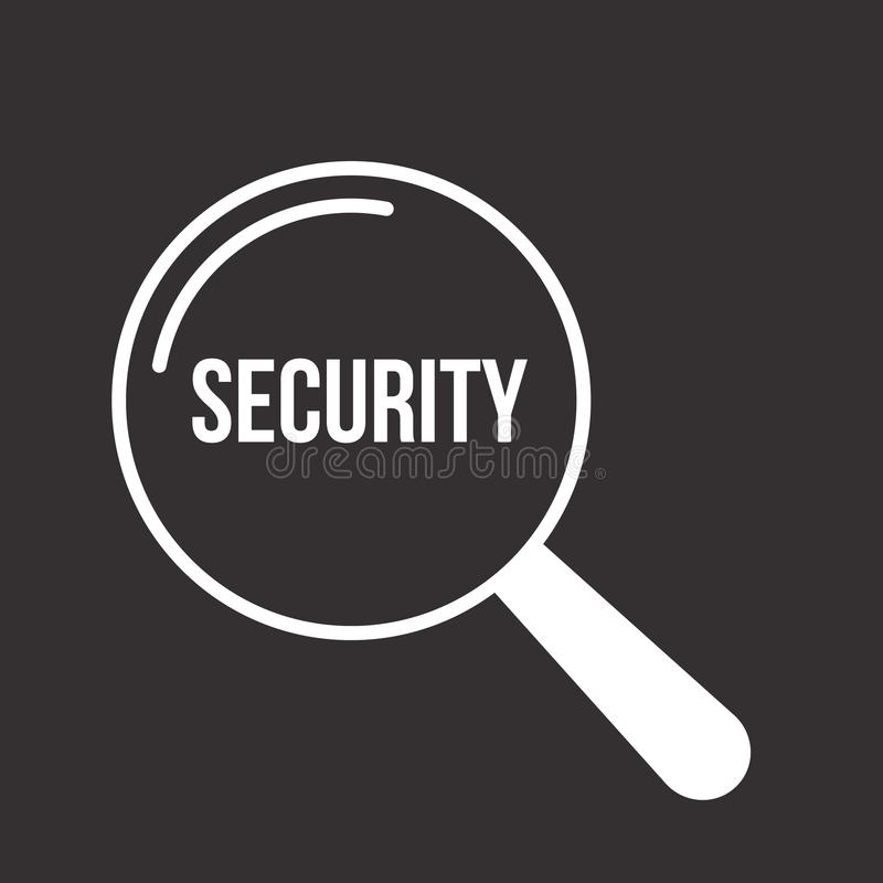 Security Word Magnifying Glass royalty free illustration