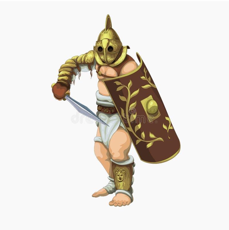 Secutor del gladiador que se prepara al attac libre illustration