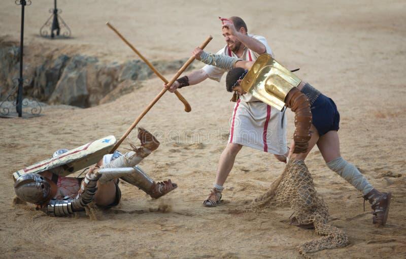 Secutor gladiator på sanden royaltyfria foton