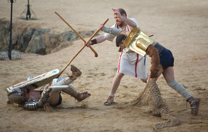 Secutor gladiator on the sand. MERIDA, SPAIN – APRIL 5: performing of gladiators fighting of Merida's Amphitheater on April 05, 2014 in Merida, Spain royalty free stock photos