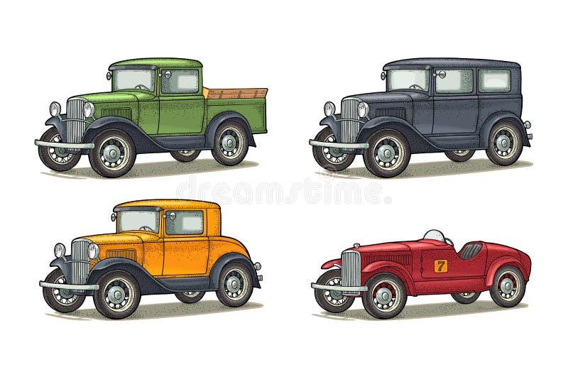 Sed?n, cup?, autom?vil descubierto y camioneta pickup retros del coche Grabado del vintage ilustración del vector