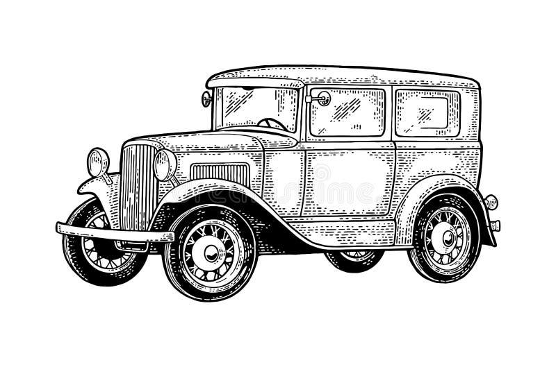 Sedán retro del coche Vista lateral Grabado negro del vintage ilustración del vector