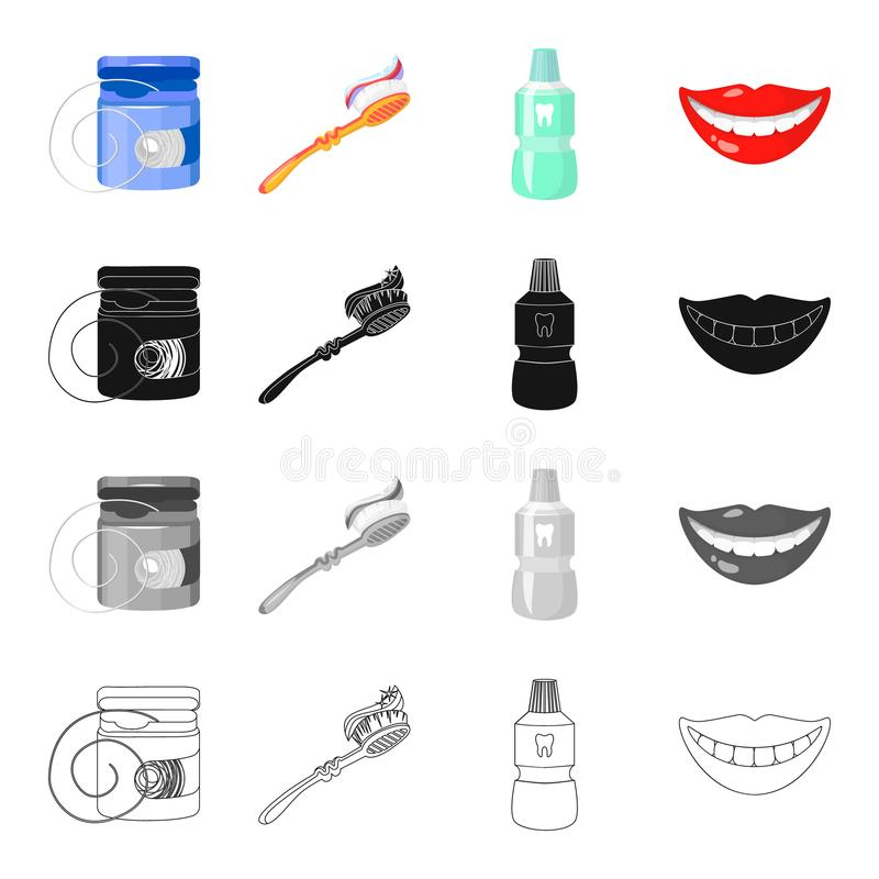 Seda dental, cepillo de dientes para el cuidado, elixir del diente, sonrisa hermosa Los iconos determinados de la colección del c ilustración del vector