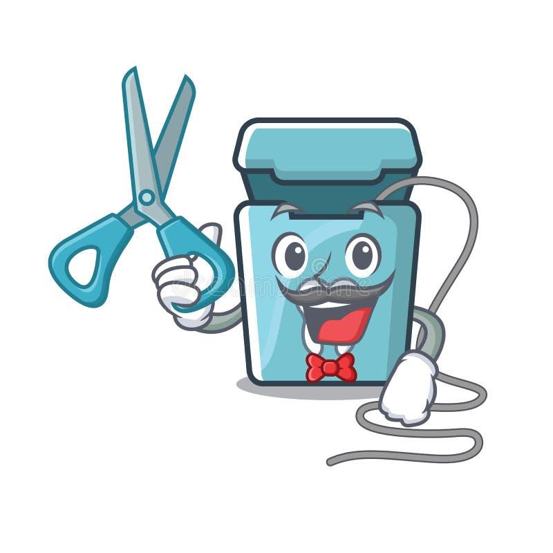 Seda dental del peluquero aislada con el carácter stock de ilustración