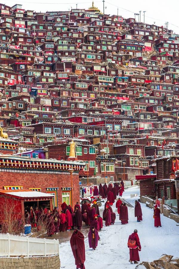 Seda,sichuan,china-Mar 08,2016,Monks at Seda buddhish college. Seda buddhish college. Is in Sichuan province, China. It is the biggest Buddhish college of the stock images