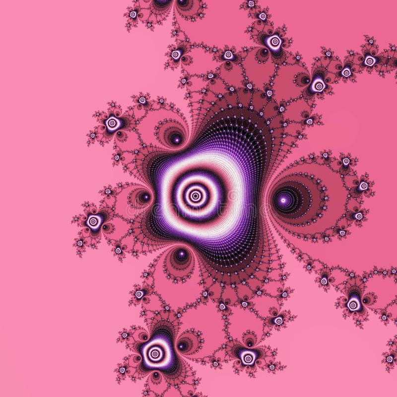 Seda y cordón, fractal de la rosa del rosa ilustración del vector