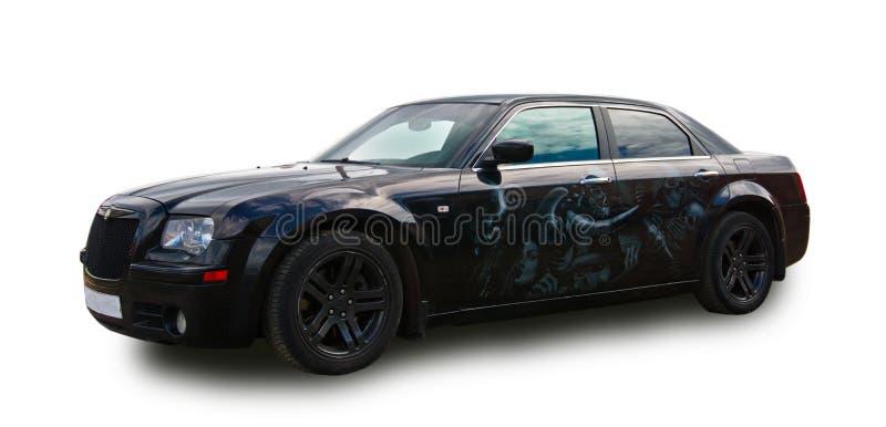 Sedan americano luxuoso da classe executiva Fundo branco fotografia de stock royalty free