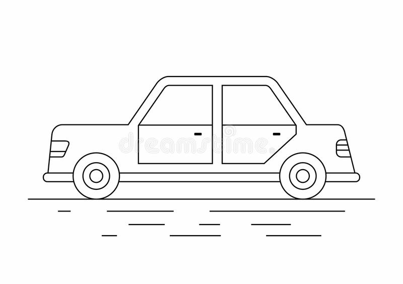Sedan car. line icon. Side view of purple car isolated on white background royalty free illustration