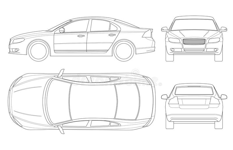 Sedan car in outline. Business sedan vehicle template vector isolated on white. View front, rear, side, top. All. Elements in groups vector illustration