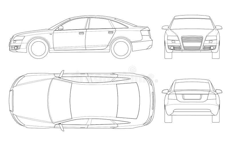 sedan car in outline  business sedan vehicle template