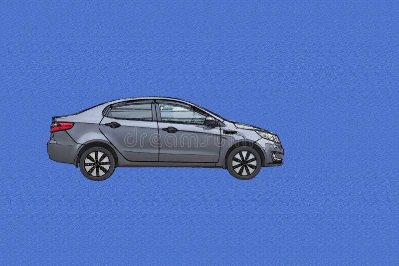 Sedan do automóvel de passageiros no fundo azul foto de stock
