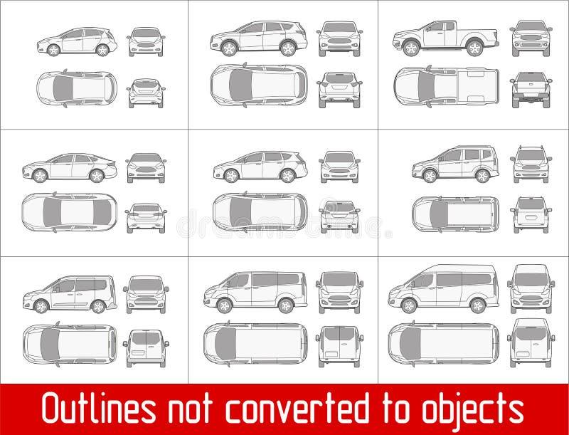 Sedan do carro e suv e camionete que todo o desenho da vista esboça não convertido aos objetos ilustração royalty free