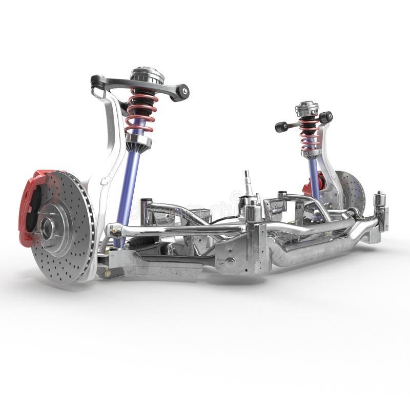 Sedan Front Suspension no branco ilustração 3D ilustração stock