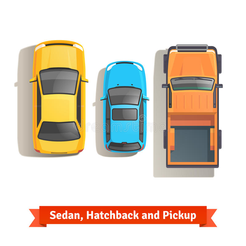 Sedan, hatchback samochody i furgonetka odgórny widok, ilustracji