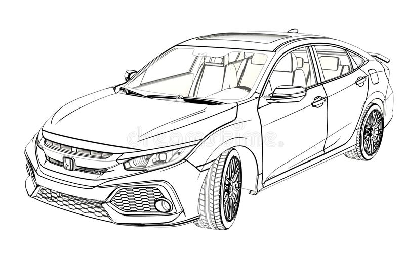 sedan honda civic 2017 graphic sketch  3d illustration