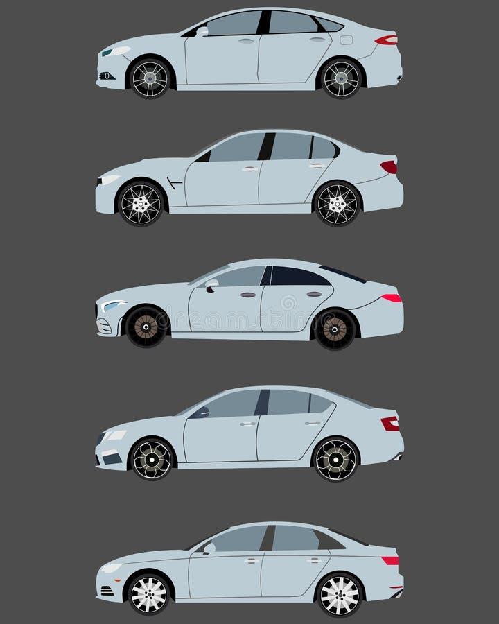 2017 sedan samochody w płaskim projekcie royalty ilustracja