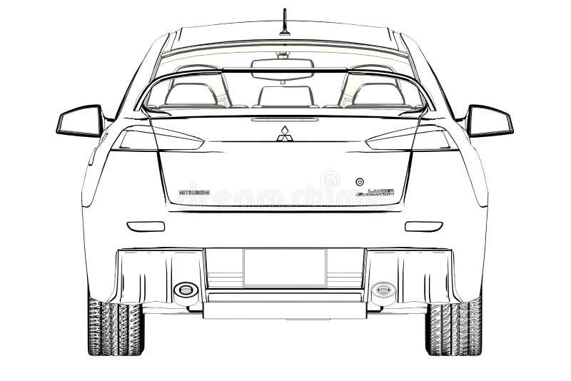 Sedanu Mitsubishi ewoluci X nakreślenie ilustracja 3 d ilustracja wektor