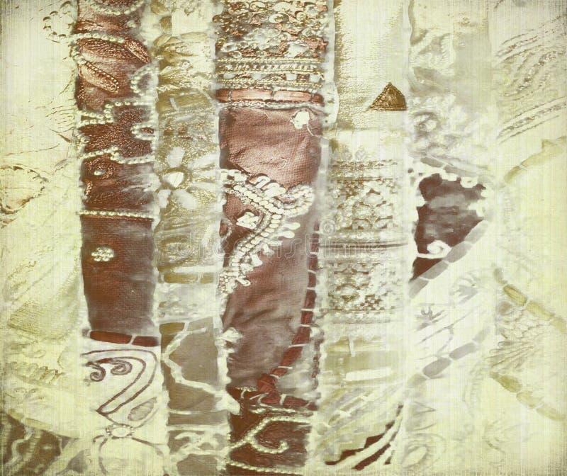 Sedas do bronze e do ouro no papel antigo imagem de stock