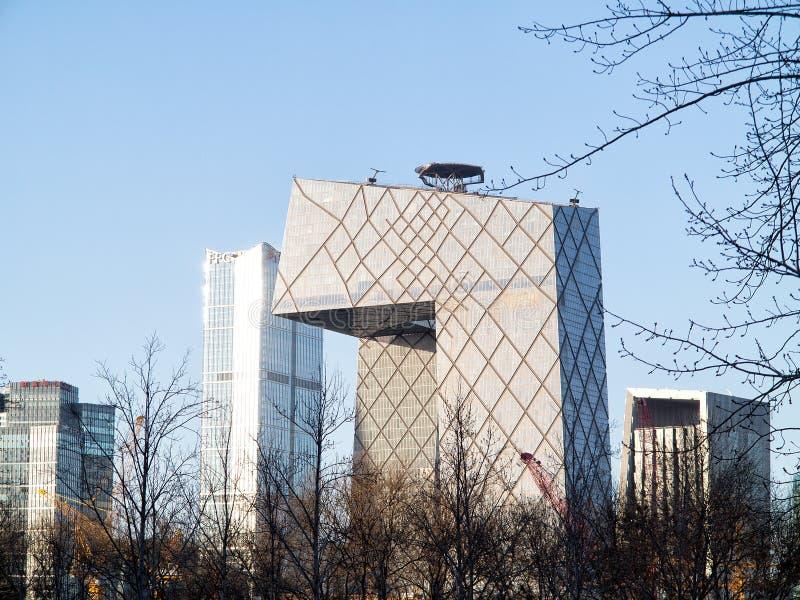 Sede da televisão central de China fotos de stock