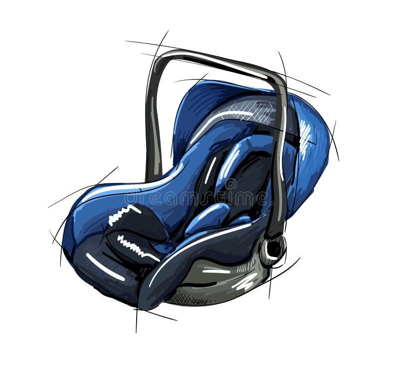 Sede di automobile di sicurezza per il bambino ed il bambino, isolata su fondo bianco Sede di automobile 3 in 1 fotografie stock libere da diritti