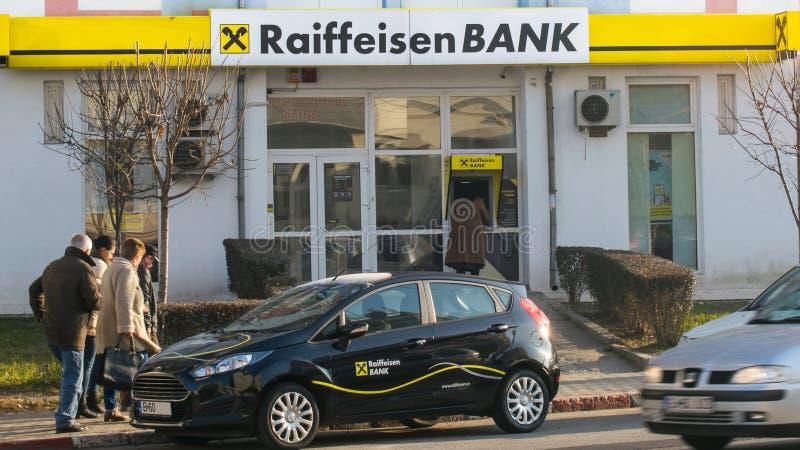 Sede do Banco Raiffeisen Romênia, Bucuresti 13 de janeiro de 2020 fotografia de stock