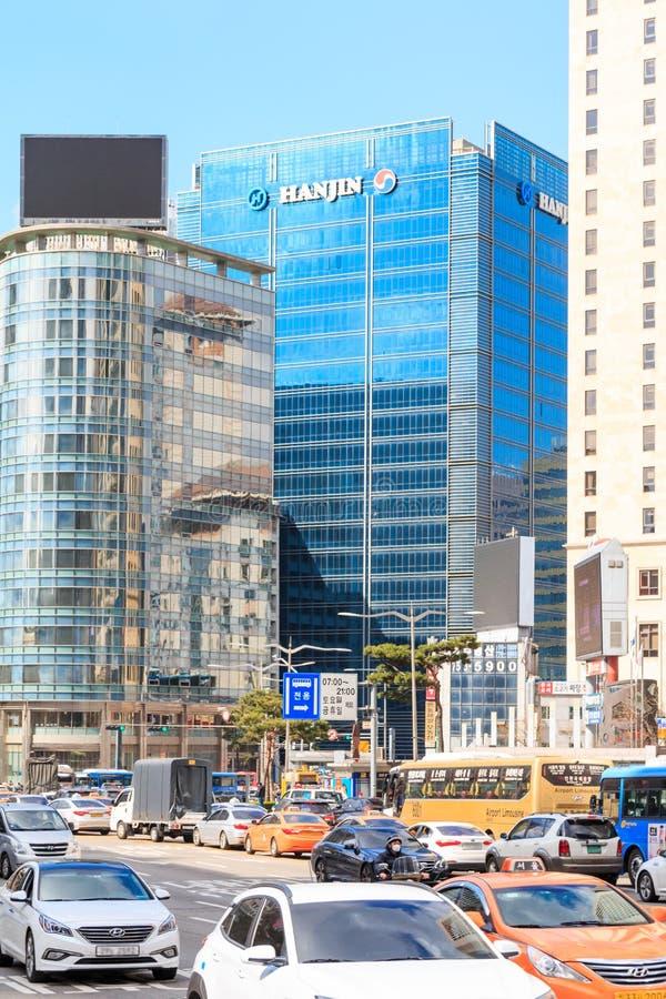Sede sociale edificio di Hanjin delle società nel conglomerato di Hanjin in Corea immagini stock libere da diritti