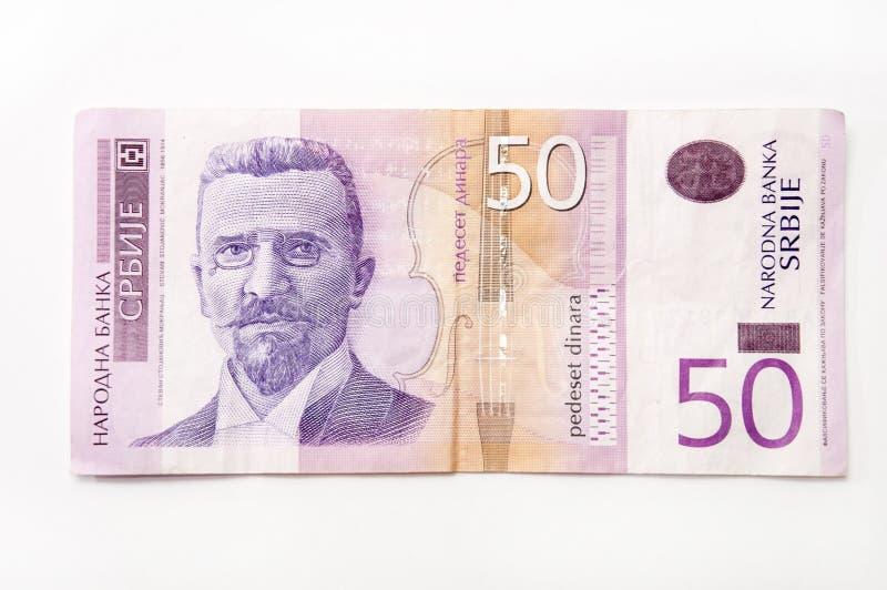 Sedel av fifthy serbiska dinar arkivbilder