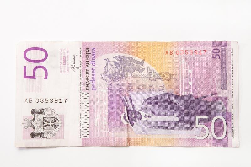 Sedel av fifthy serbiska dinar fotografering för bildbyråer
