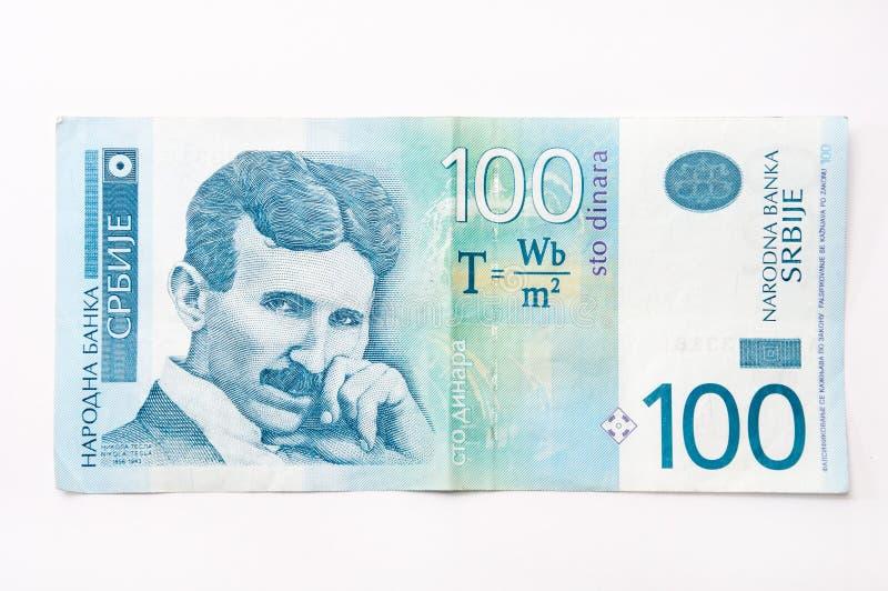 Sedel av hundra serbiska dinar royaltyfri foto