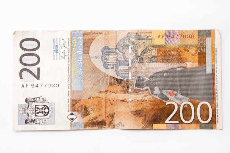 Sedel av tvåhundra serbiska dinar arkivbild