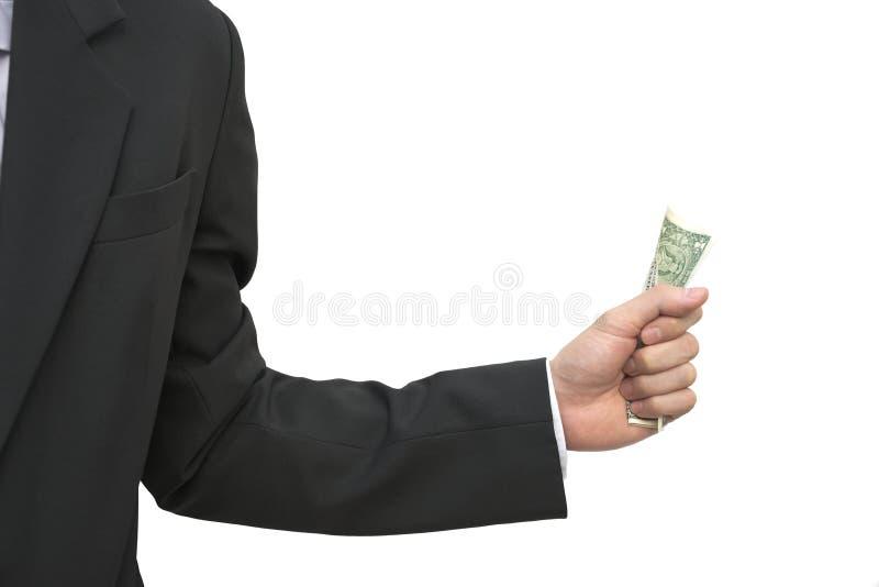 Sedel för dollar för abstrakt hand för closeupaffär manlig hållande royaltyfria foton