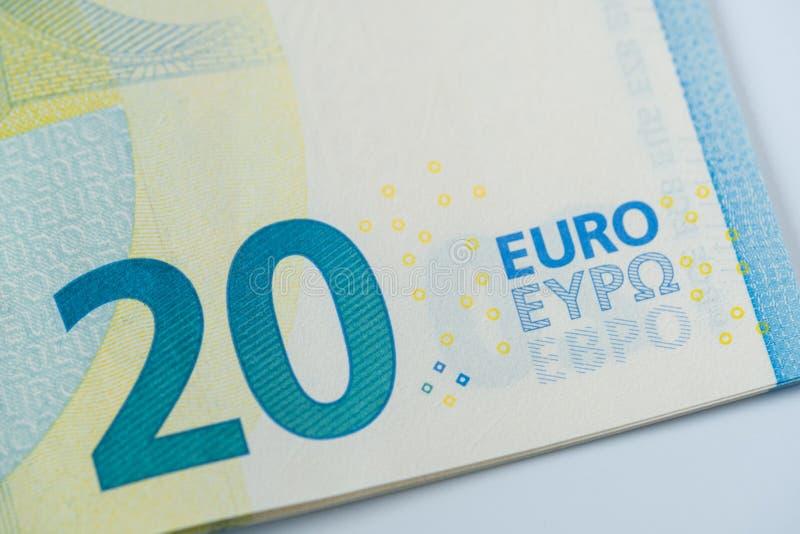 sedel för euro 20 - detalj royaltyfri fotografi
