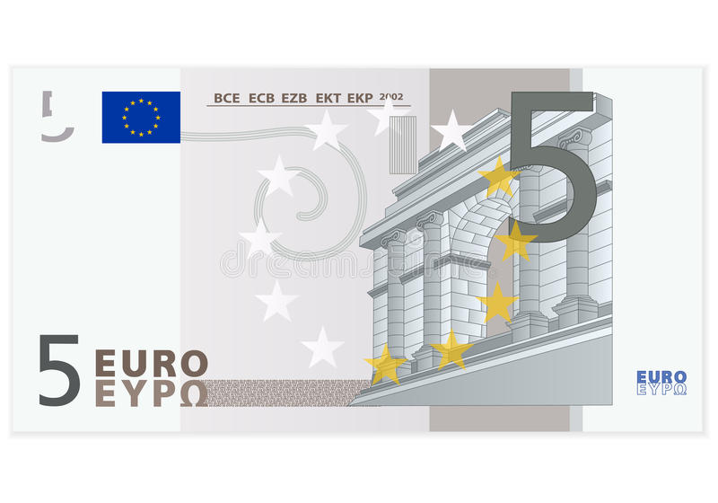 Sedel för euro fem royaltyfri illustrationer