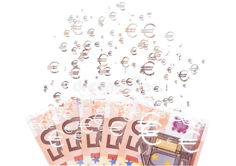 sedel för euro som 50 upplöser som ett begrepp av den ekonomiska crysisen arkivfoto