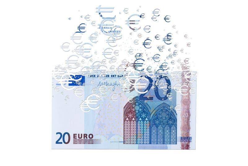 sedel för euro som 20 upplöser som ett begrepp av den ekonomiska crysisen royaltyfri bild
